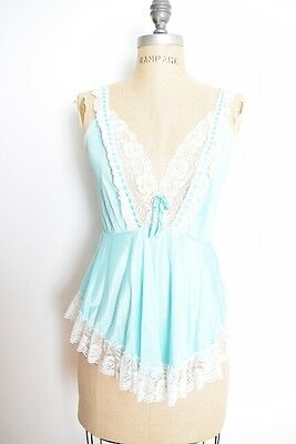 vintage 80s lingerie top turquoise white lace ruffle cami nightie top shirt S