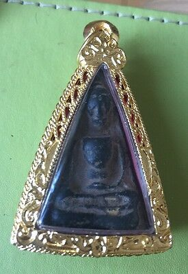 Old Vintage Thai Amulet  Blessed in Thailand Temple Gold Plate Cased To Preserve