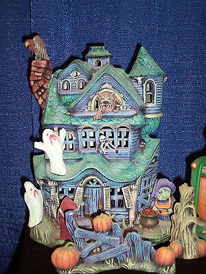 Ceramic Bisque Ready to Paint Large Haunted House comes with clip in light