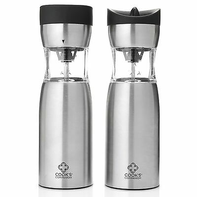 Cook's Companion Set/ 2 Gravity Activated Salt & Pepper Grinders Stainless New