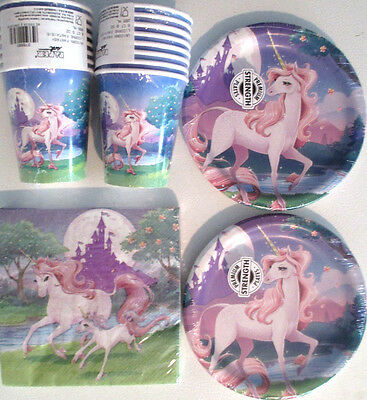 UNICORN FANTASY Birthday Party Supply Kit w/ Plates, Napkins & Cups