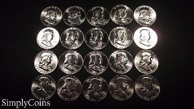 (20) 1963 Franklin Half Dollar Roll ~ BU Uncirculated ~ 90% Silver SKU-852