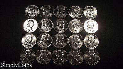 (20) 1963 Franklin Half Dollar Roll ~ BU Uncirculated ~ 90% Silver SKU-853