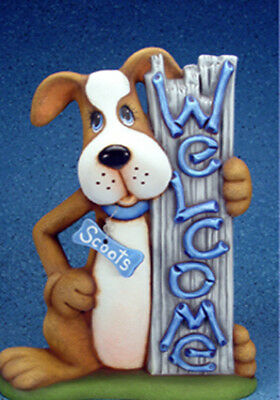 Ceramic Bisque Ready to Paint WELCOME Dog