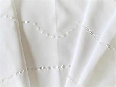 Beautiful Vintage French White Metis Linen Sheet with Embroidery and Jours