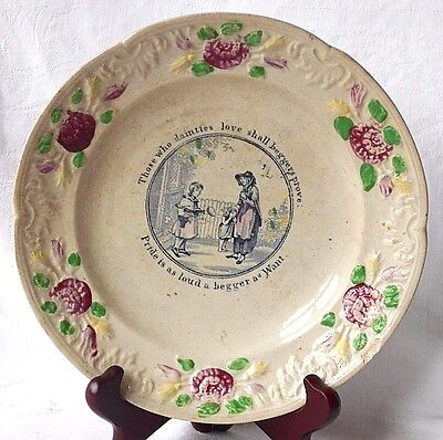 C19Th Staffordshire Moto Plate With Moulded Border