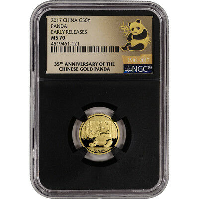 2017 China Gold Panda (3 g) 50 Yuan - NGC MS70 - Early Releases 35th Label Black