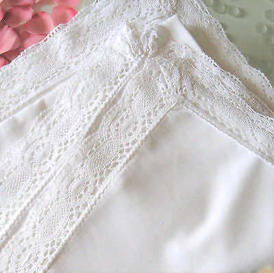 Two Pretty Vintage French White Linen Pillowcases with Vintage Lace Borders