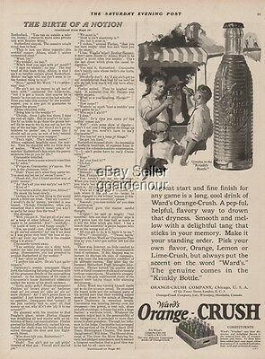 1923 Ward's Orange Crush Soda Krinkly Bottle Vintage Golf Theme Chicago IL Ad