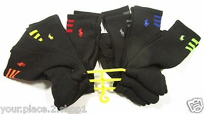 Polo Ralph Lauren Men's Athletic Black Striped Logo Crew Socks Pack of 6