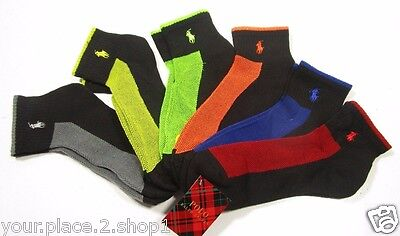 Polo Ralph Lauren Men's Athletic Mesh Black Contrast Logo Quarter Sock Pack of 6