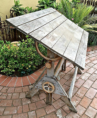 Antique Shabby Iron & Wood Drafting Table Weathered Artist Industrial Funky L@@k