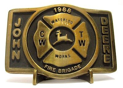 John Deere Waterloo FIRE BRIGADE Belt Buckle 1988 Employee CW TW Tractor Works