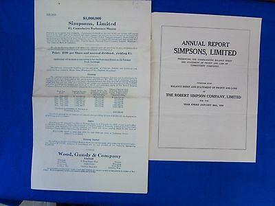 The Robert Simpson Co., Limited, Canada, Annual Report, 1929 (S7198)