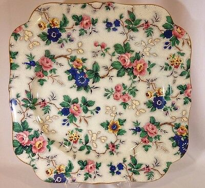 "CROWN DUCAL WARE CHINTZ 12"" Square Platter"