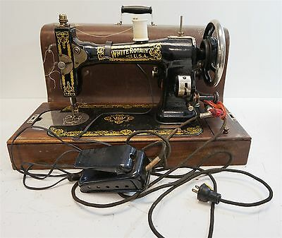 Vintage White Rotary Sewing Machine Serial No.: FR3115415 - WORKS