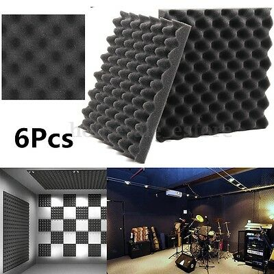 """6 Pack-Acoustic Studio Soundproofing Egg Crate Foam Wall Tiles 1.5"""" X 12"""" X 12''"""