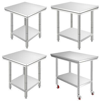 VEVOR Commercial Stainless Steel Work Bench Kitchen Catering Table Top Food Prep