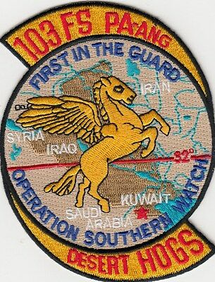 Us Air Force Patch - 103Rd Fs - Pa-Ang - Desert Hogs - Operation Southern Watch