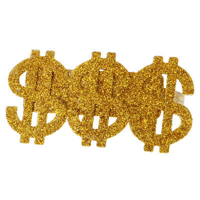 Gold Bling 3 US Dollar Signs Ring Men Costume Gangster Rapper Accessories