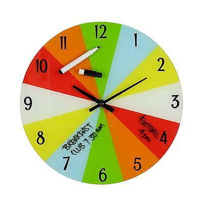 Children's Organise Your Time Multi Coloured Glass Wall Clock by Just 4 Kids