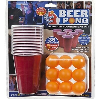 36pc Beer Pong Drinking Game Alcohol American Cup Gift Beerpong Frat Party Ping