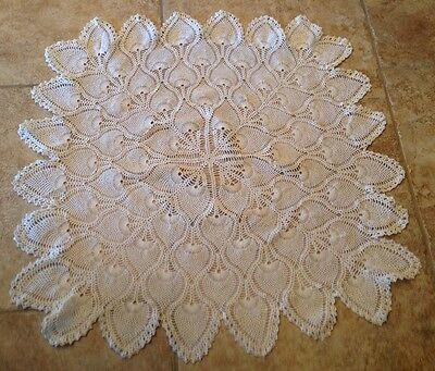 Vintage Hand Crocheted Square Tablecloth, Ivory, Intricate Pineapple Design
