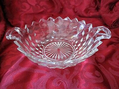 Jeanette cube cubist clear serving bowl with handles