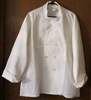 CHEF COAT L double breasted UNISEX White 3/4 sleeve w/cuffs 10 buttons kitchen