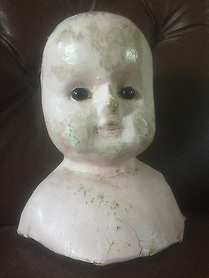 Large Creepy Antique Victorian Wax Head - Gothic Decor - Cabinet of Curiosities