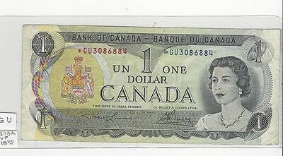 **1973**Canada $1 Note, Lawson/Bouey *GU 3086884  BC-46aA Replacement Note