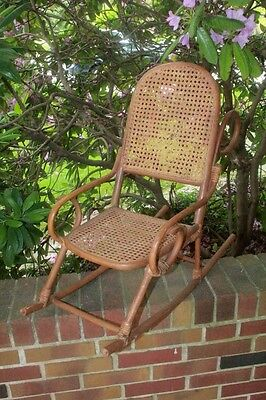 Vintage Childs Bentwood Caned seat and back Rocking Chair