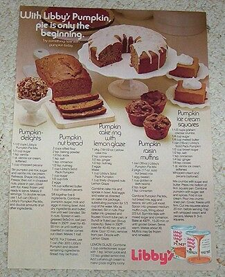 1971 advertising page - Libby's Pumpkin muffins cake nut bread recipes PRINT AD