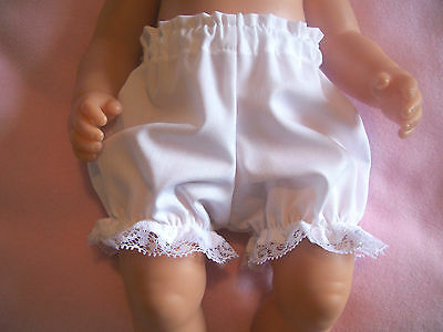 BJB dolls clothes, White Frilly knickers pants fit baby born doll