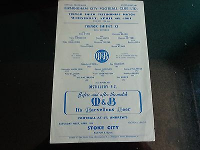 BIRMINGHAM CITY  TREVOR SMITHS X1 v DISTILLERY Ireland Trvor Smith Benefit 1964