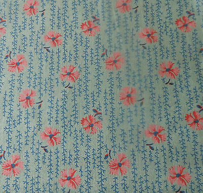Antique Small Scale Pink & Blue Floral Sprig Calico Cotton Fabric ~ dolls quilts