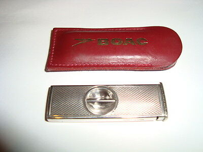 SUPERB VINTAGE STERLING SILVER CIGAR CUTTER for B.O.A.C. Airline HM 1966 freeP&P