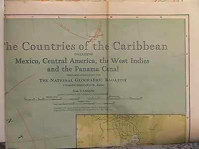 1922 National Geographic Map of Countries of the Carribean