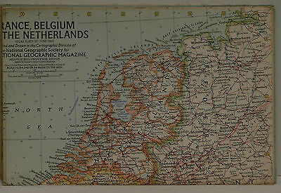 Vintage 1960 National Geographic Map of France Belgium and The Netherlands