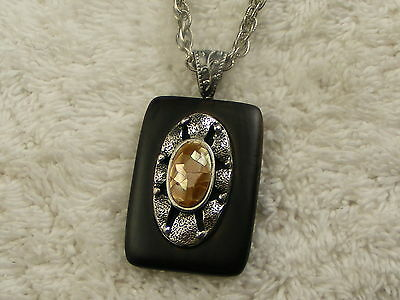 Etched Silvertone Chain Shell Cabochon Wood Pendant Necklace (A59)