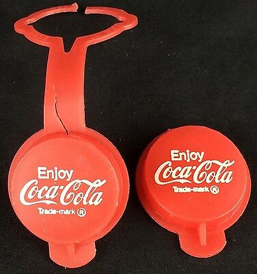 Pair of 2 Vintage Red Plastic Coke Coca-Cola Replacement Snap-On Bottle Caps