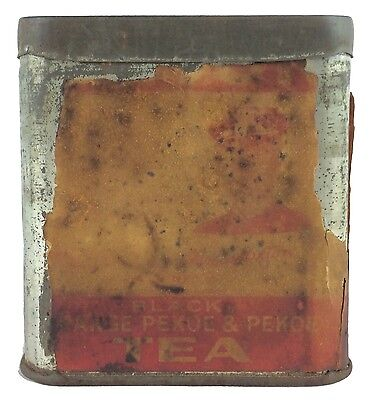 Old Metal Steel Lipton's Tea Embossed Lidded Box Partial Paper Label Pekoe