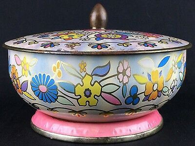 Lovely Vintage Lidded Daher Tin Litho Candy Dish Multicolor Flowers 1960s 1970s