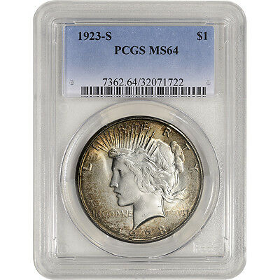 1923-S US Peace Silver Dollar $1 - PCGS MS64
