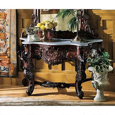 Elegant Hand Carved Solid Mahogany White Marble Top Console Table