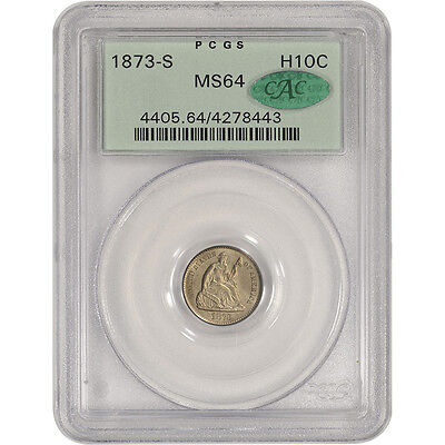 1873-S US Seated Liberty Silver Half Dime H10C - PCGS MS64 - CAC Verified