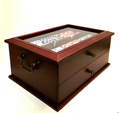 Poker Chip Set Wooden Box with Drawer Glass Lid 2 Decks Cards Dice 12.75 inch