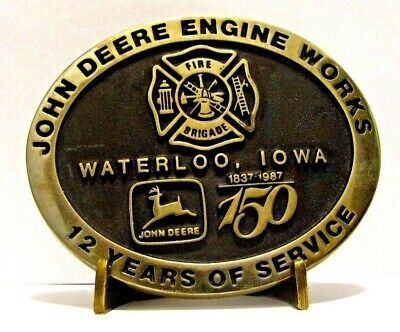 1987 John Deere Engine Works FIRE BRIGADE Belt Buckle 12 Year Employee #34 of 55