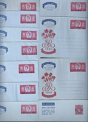 OMAN 1940s 50s SPECIALIZED COLLECT OF 11 AIR LETTERS FROM F61 F69 INCLUDING TWO