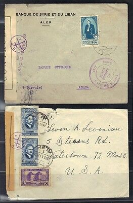 Syria 1943 Bank Cover Aleppo To Adana And Aleppo To U.s. Both With French Mandat